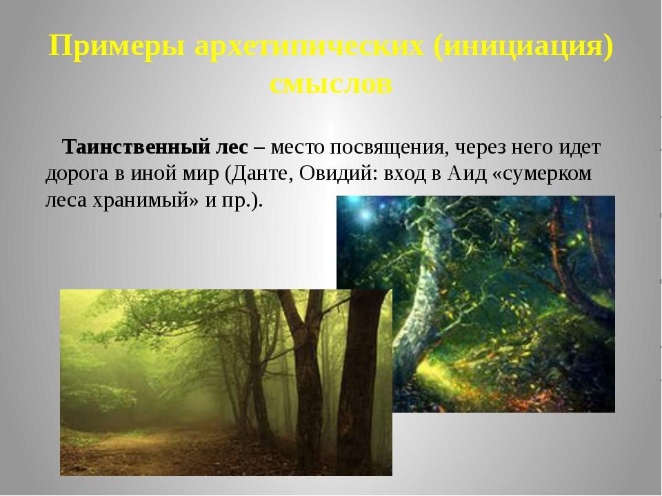 Примеры архетипических (инициация) смыслов Таинственный лес – место посвящени...