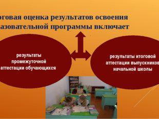 Итоговая оценка результатов освоения образовательной программы включает резул