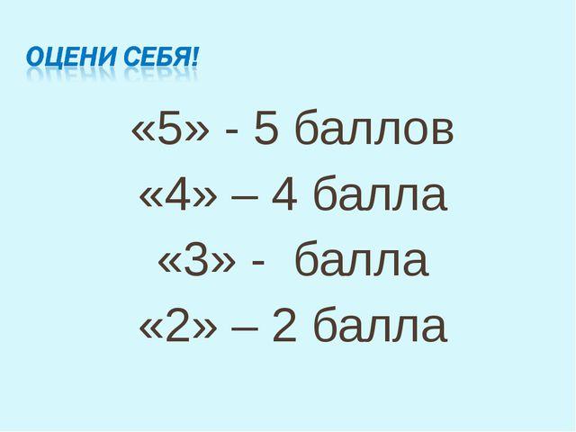 «5» - 5 баллов «4» – 4 балла «3» - балла «2» – 2 балла