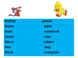 Mother pencil Sister table Aunt notebook Uncle ruler Niece rubber Pen bag Boo
