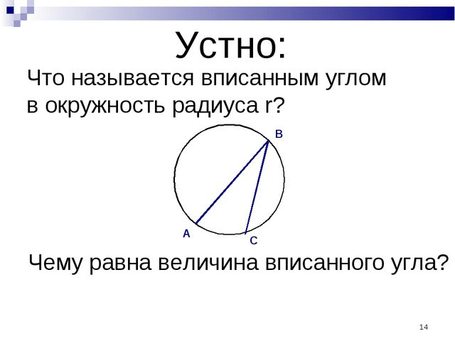 * Устно: Что называется вписанным углом в окружность радиуса r? Чему равна ве...