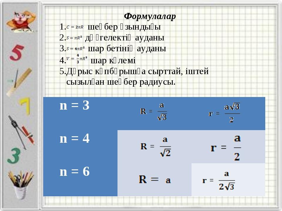 n = 3  n = 4  n = 6