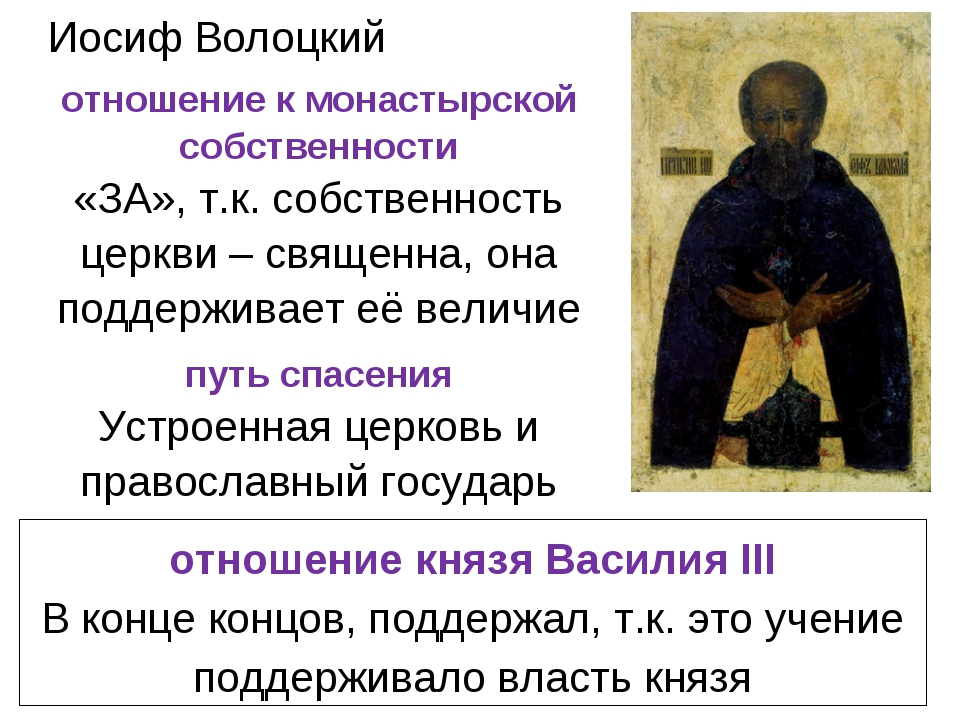 Иосиф Волоцкий отношение князя Василия III В конце концов, поддержал, т.к. эт...