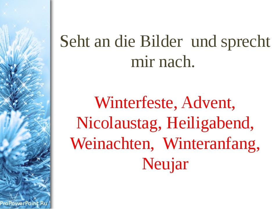 Seht an die Bilder und sprecht mir nach. Winterfeste, Advent, Nicolaustag, He...