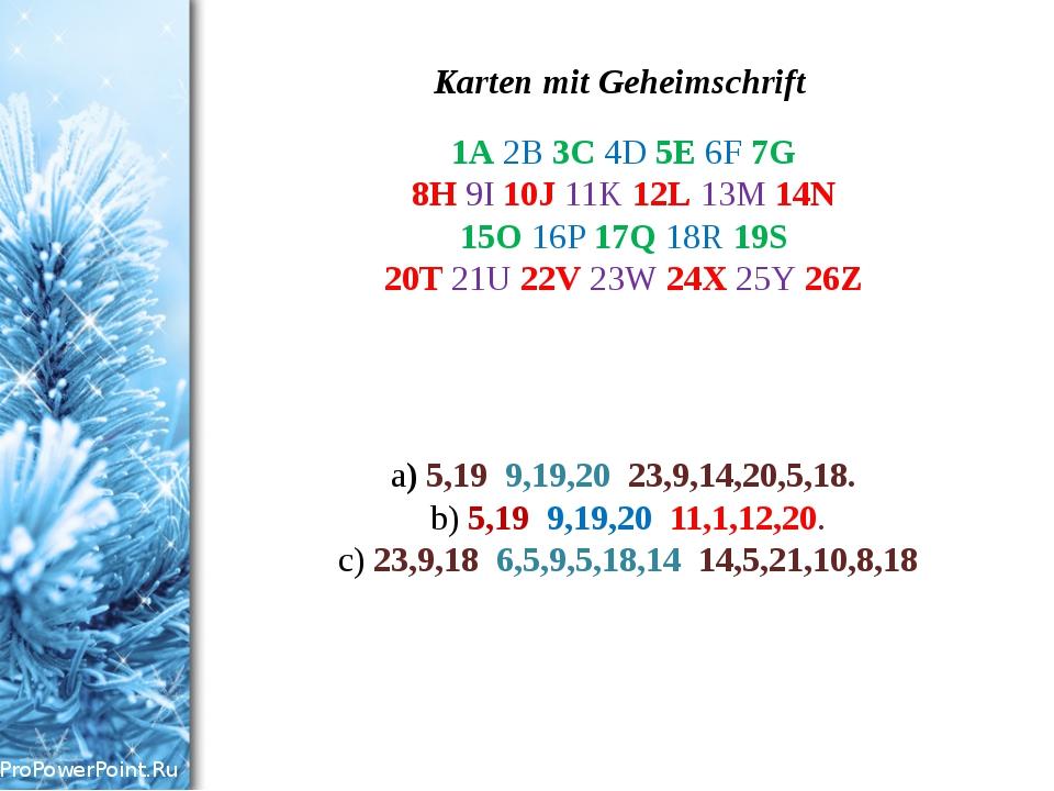 Karten mit Geheimschrift 1A 2B 3C 4D 5E 6F 7G 8H 9I 10J 11K 12L 13M 14N 15O 1...