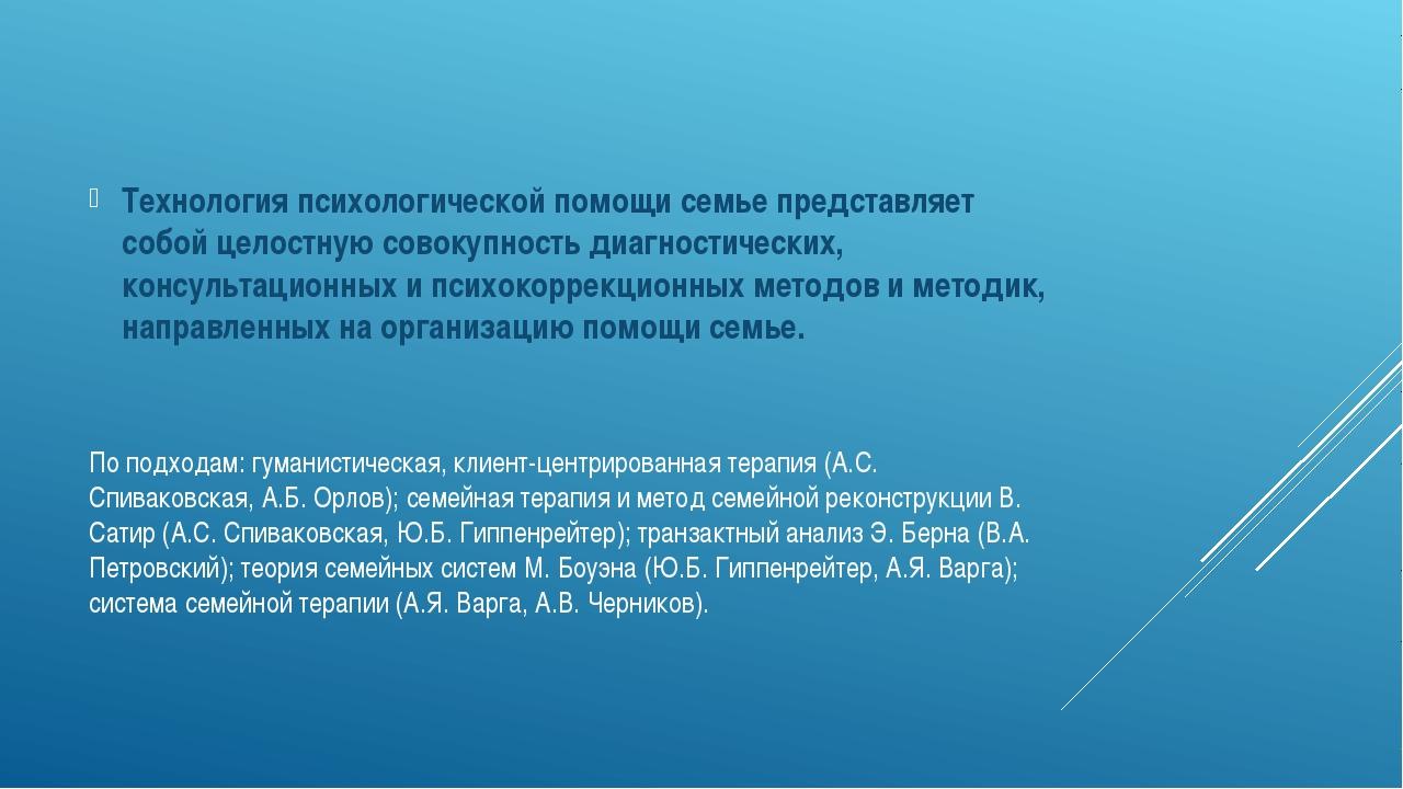 По подходам: гуманистическая, клиент-центрированная терапия (А.С. Спиваковска...