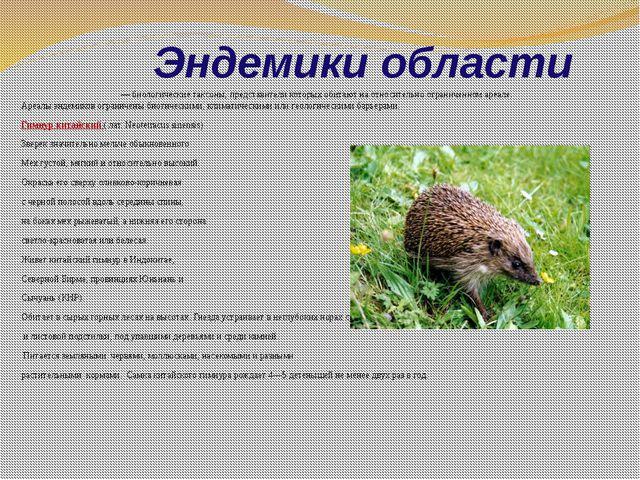 Эндемики области Эндемики, илиэнде́мы— биологическиетаксоны, представител...