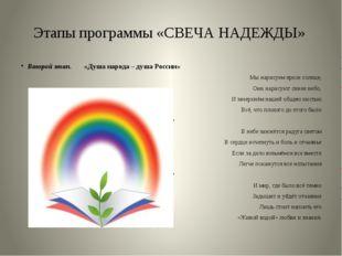 Этапы программы «СВЕЧА НАДЕЖДЫ» Второй этап. «Душа народа – душа России» Мы н
