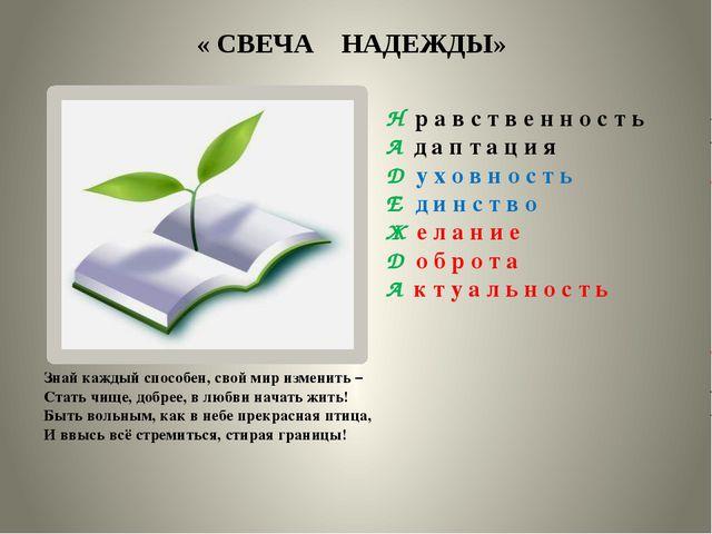 « СВЕЧА НАДЕЖДЫ» Знай каждый способен, свой мир изменить – Стать чище, добре...