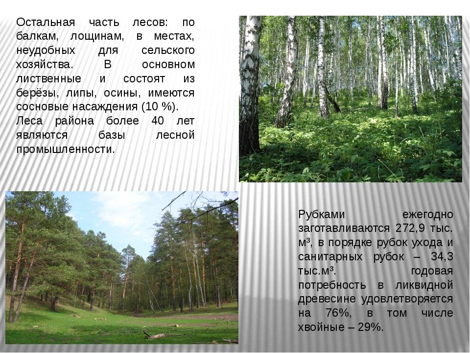 Остальная часть лесов: по балкам, лощинам, в местах, неудобных для сельского...