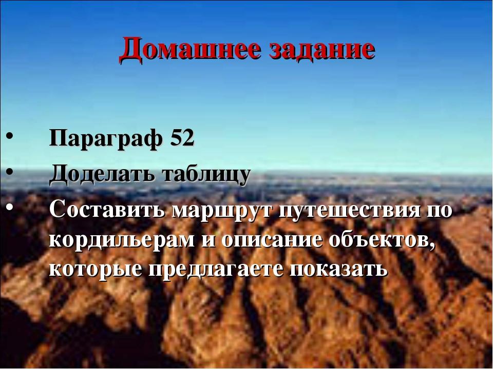 Домашнее задание Параграф 52 Доделать таблицу Составить маршрут путешествия п...