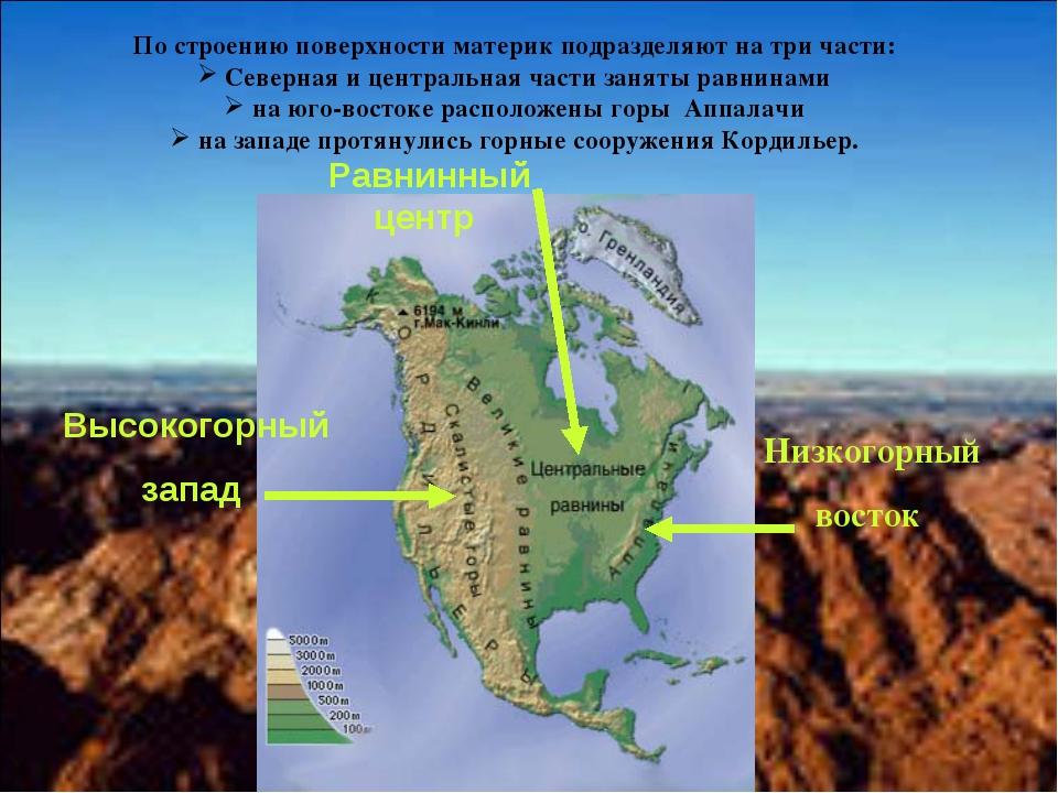 Высокогорный запад Равнинный центр Низкогорный восток По строению поверхности...