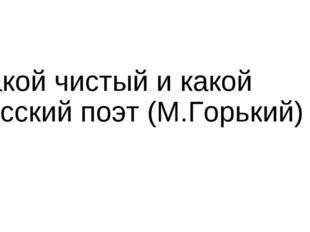 Какой чистый и какой русский поэт (М.Горький)