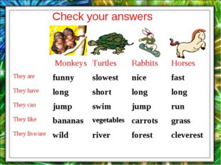 Check your answers 	 Monkeys	Turtles	Rabbits	Horses They are	funny	slowest	ni