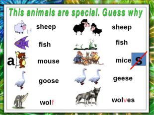 a sheep fish mouse wolf goose sheep fish mice wolves geese s