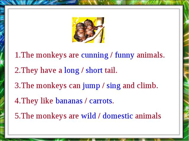 1.The monkeys are cunning / funny animals. 2.They have a long / short tail. 3...