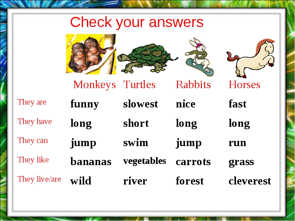 Check your answers 	 Monkeys	Turtles	Rabbits	Horses They are	funny	slowest	ni...