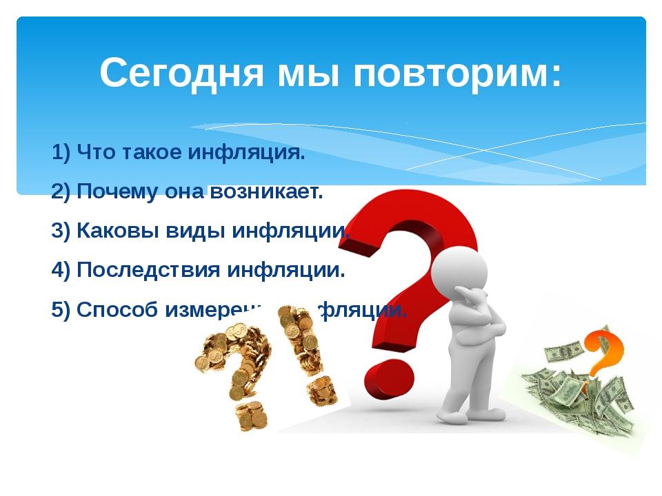 1) Что такое инфляция. 2) Почему она возникает. 3) Каковы виды инфляции. 4) П...