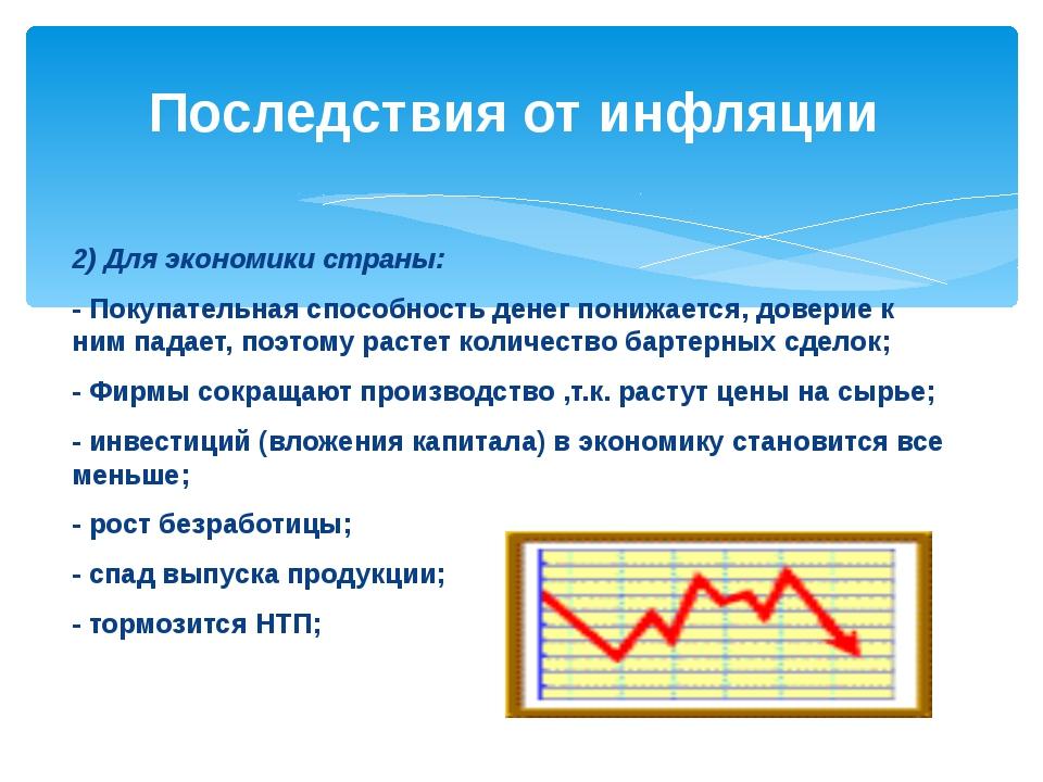 2) Для экономики страны: - Покупательная способность денег понижается, довери...
