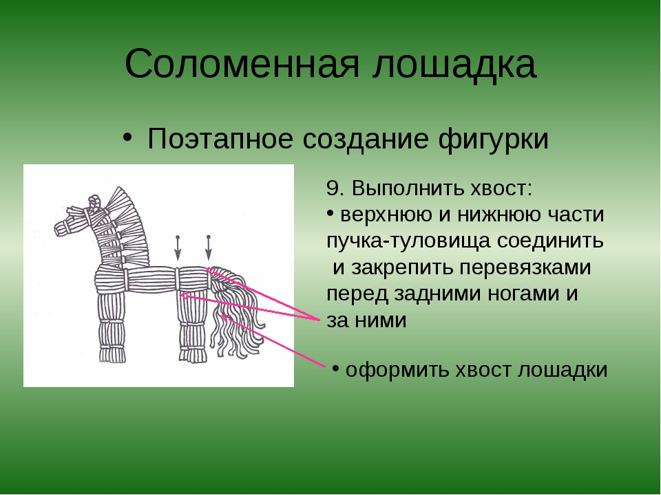 Соломенная лошадка Поэтапное создание фигурки 9. Выполнить хвост: верхнюю и н...