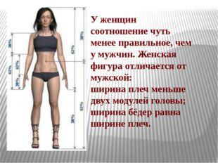 У женщин соотношение чуть менее правильное, чем у мужчин. Женская фигура отли