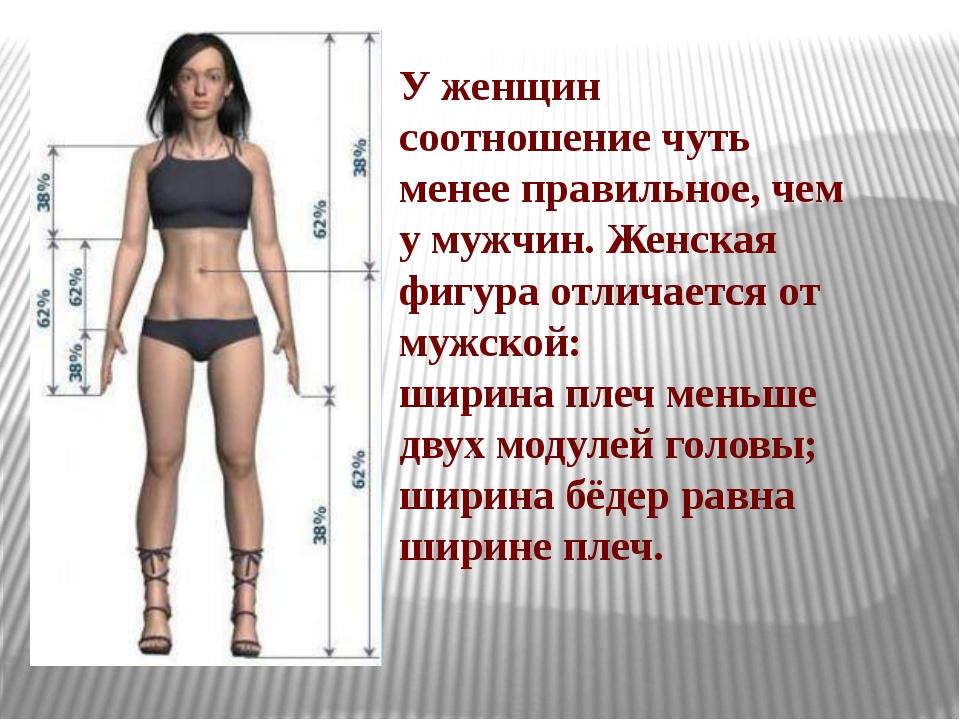 У женщин соотношение чуть менее правильное, чем у мужчин. Женская фигура отли...