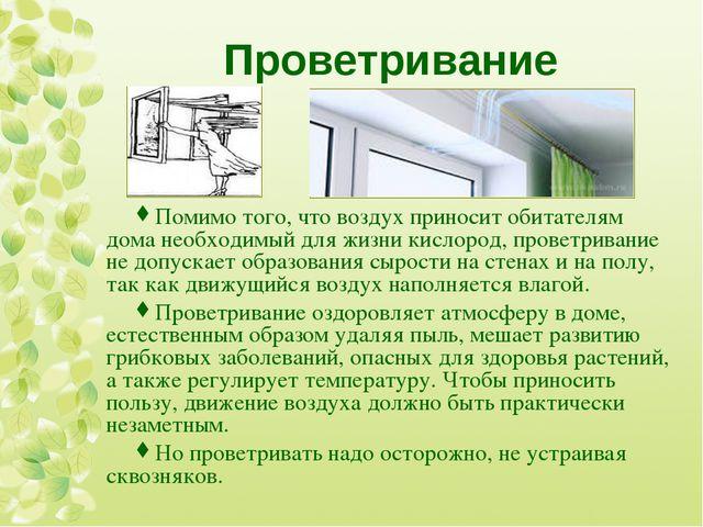 Проветривание Помимо того, что воздух приносит обитателям дома необходимый дл...