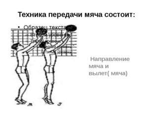 Техника передачи мяча состоит: Направление мяча и вылет( мяча)