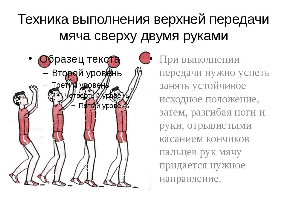 Техника выполнения верхней передачи мяча сверху двумя руками При выполнении п...
