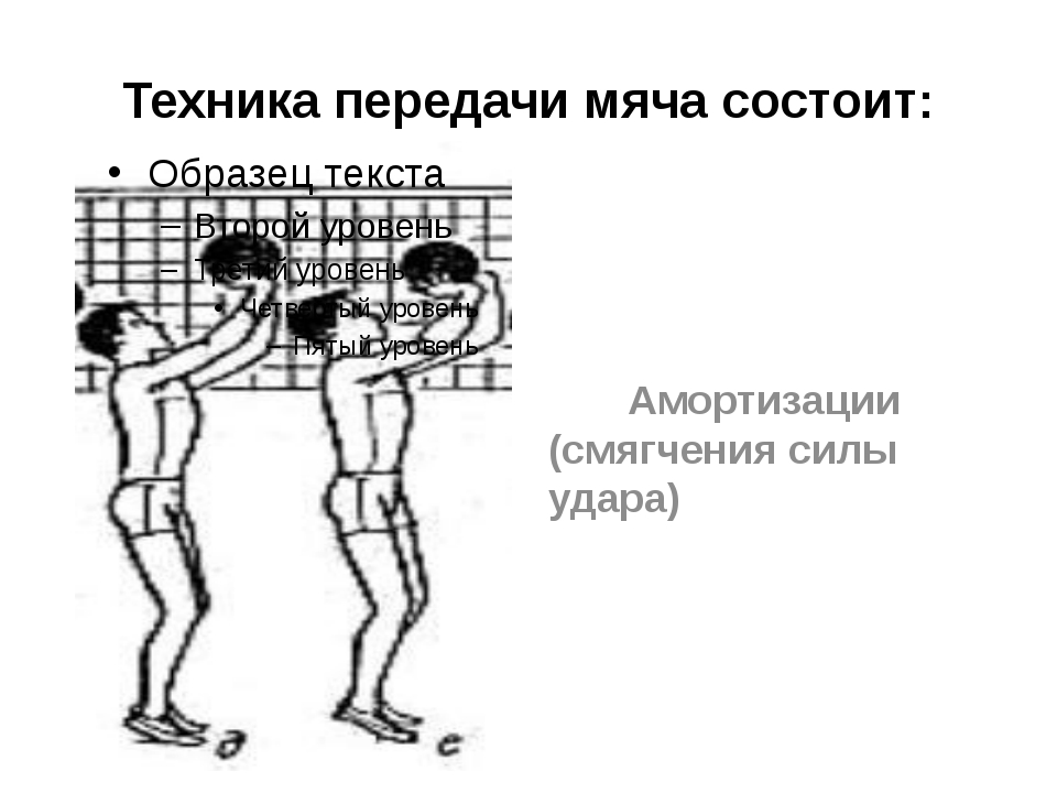 Техника передачи мяча состоит: Амортизации (смягчения силы удара)