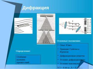 Дифракция Огибание волнами препятствий Определение: Основные положения: Опыт