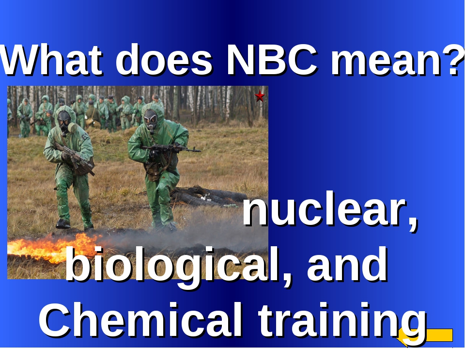 What does NBC mean? nuclear, biological, and Chemical training