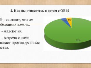 2. Как вы относитесь к детям с ОВЗ? 92% - считают, что им необходимо помочь.