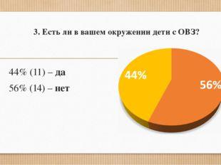 3. Есть ли в вашем окружении дети с ОВЗ? 44% (11) – да 56% (14) – нет