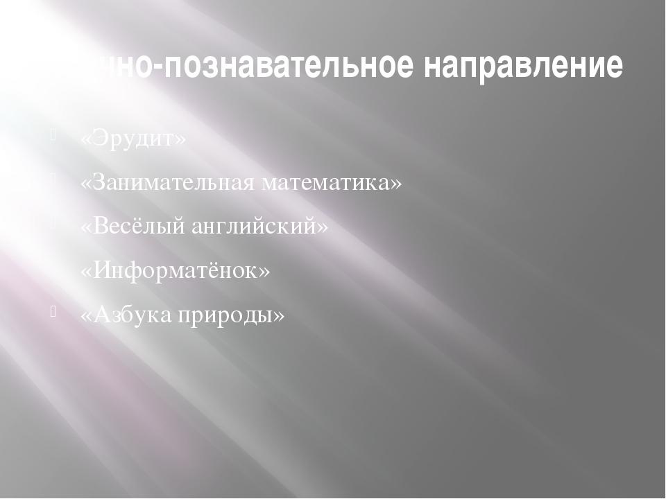 Научно-познавательное направление «Эрудит» «Занимательная математика» «Весёлы...