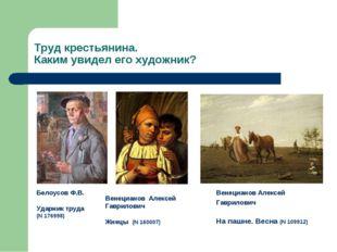 Труд крестьянина. Каким увидел его художник? Белоусов Ф.В. Ударник труда (N 1