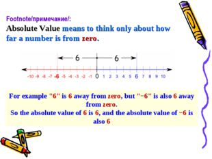 Footnote/примечание/: Absolute Valuemeans to think only abouthow fara numb