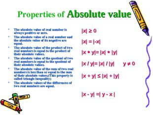 The absolute value of real number is always positive or zero. The absolute va