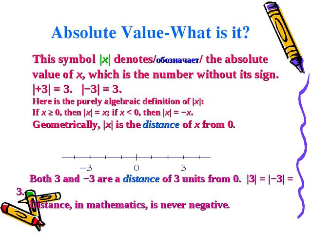This symbol|x| denotes/обозначает/ theabsolute valueofx, which is the num...