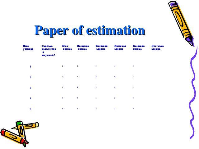 Paper of estimation Имя ученика Сколько новых слов я выучил/а?Моя оценкаВн...