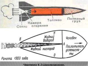 Чертежи К.Э.Циолковского.