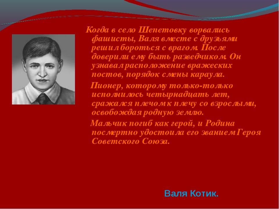 Когда в село Шепетовку ворвались фашисты, Валя вместе с друзьями решил борот...
