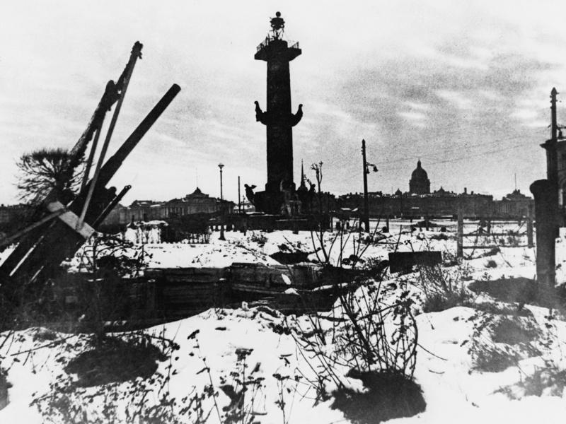 Позиция батареи 76-мм зенитных пушек на Стрелке Васильевского острова в Ленинграде