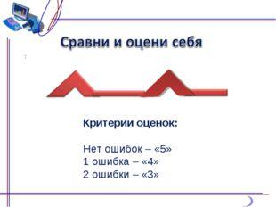 Критерии оценок: Нет ошибок – «5» 1 ошибка – «4» 2 ошибки – «3»