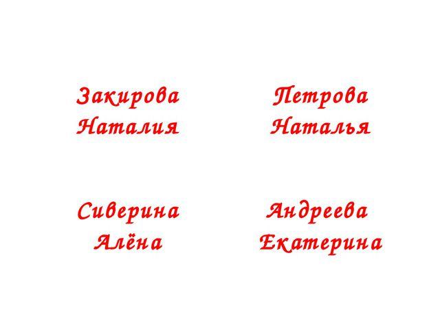 Закирова Наталия Петрова Наталья Сиверина Алёна Андреева Екатерина