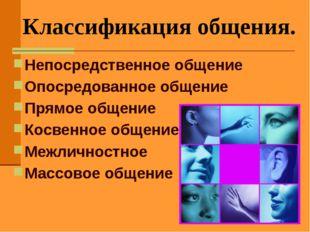 Классификация общения. Непосредственное общение Опосредованное общение Прямое