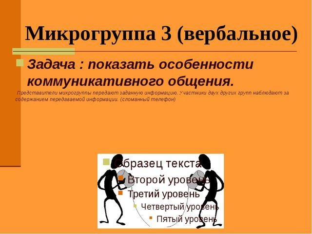 Микрогруппа 3 (вербальное) Задача : показать особенности коммуникативного общ...
