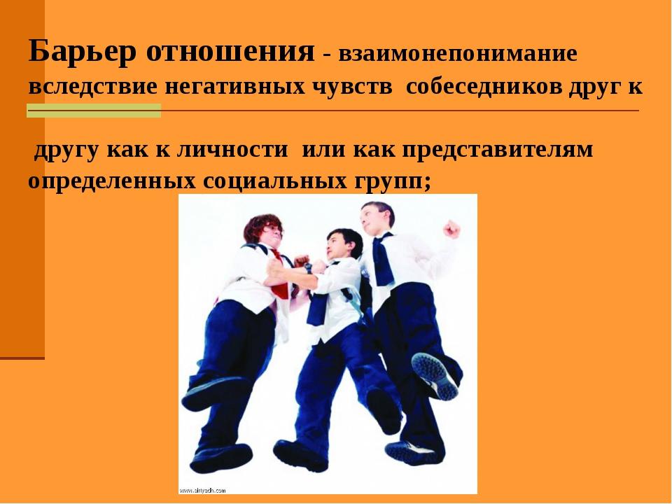 Барьер отношения - взаимонепонимание вследствие негативных чувств собеседнико...