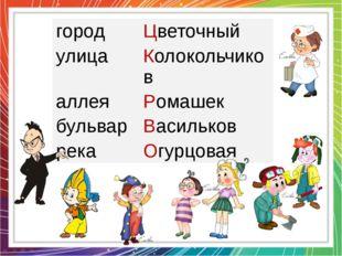 город Цветочный улица Колокольчиков аллея Ромашек бульвар Васильков река Огур