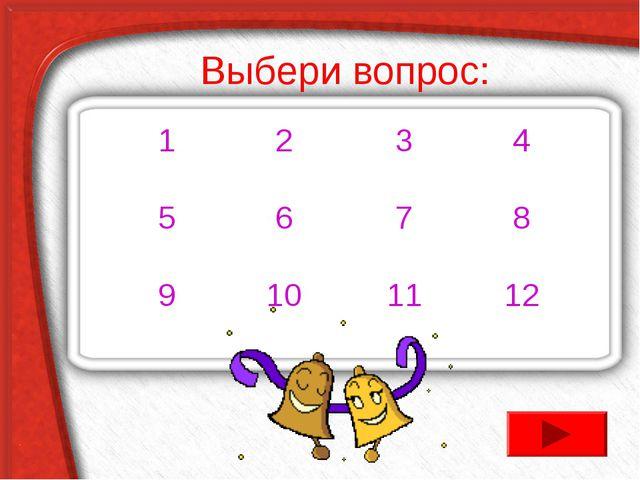 Выбери вопрос: 1234 5678 9101112